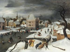 A Winter Scene by a Moated Castle by Abel Grimmer