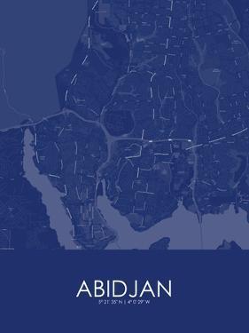 Abidjan, Côte d'Ivoire Blue Map