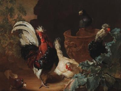 A Rooster, Two Chickens and Two Pigeons by an Antique Chipped Terra Cotta Vase in a Landscape, 1695 by Abraham Bisschop