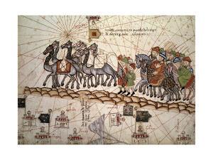 Marco Polo Road to Cathay, Catalan Atlas, Caravan of Travelers by Abraham Cresques