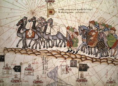 Marco Polo Road to Cathay, Catalan Atlas, Caravan of Travelers