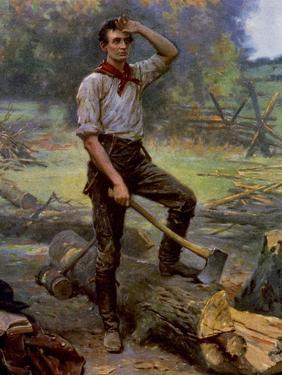 Abraham Lincoln Depicted as a Frontier Rail Splitter in 1909 Commemorative Portrait