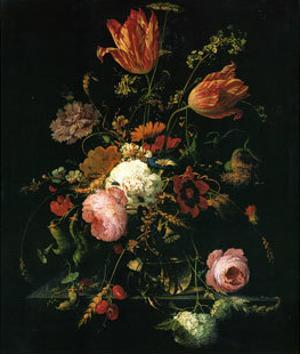 Flower in a Crystal Vase by Abraham Mignon