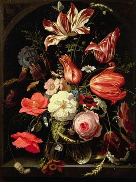 Still Life of Flowers on a Ledge by Abraham Mignon