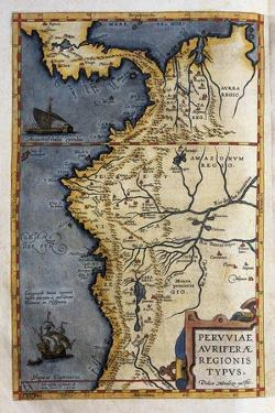 Map of Peru by Abraham Ortelius