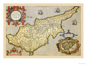 Map of the Island of Cyprus by Abraham Ortelius