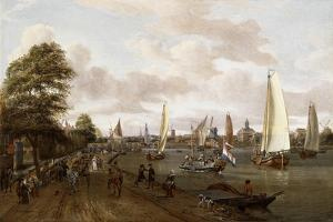 A Panoramic View of Amsterdam with a Barge and Smallships on the Buiten-Amstel by Abraham Storck