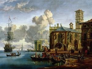 Capriccio of a Mediterranean Port by Abraham Storck