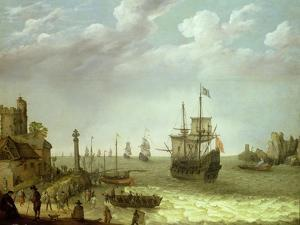 Settlement on a Rocky Shore with the Dutch Fleet Approaching, 1640 by Abraham Willaerts
