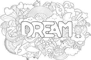 Abstract Background with Text Dream. Texture for Typography. Template for Advertising, Postcards, B