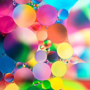 Experiment with Oil Drops on Water, Colorful Background by Abstract Oil Work