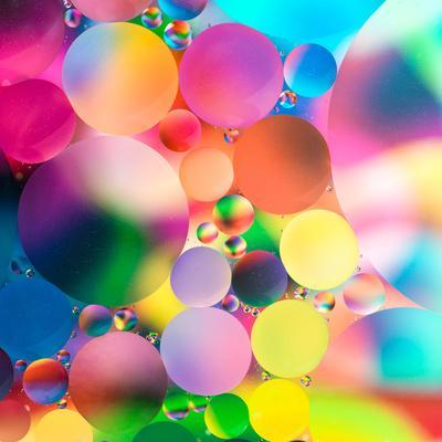 Experiment with Oil Drops on Water, Colorful Background