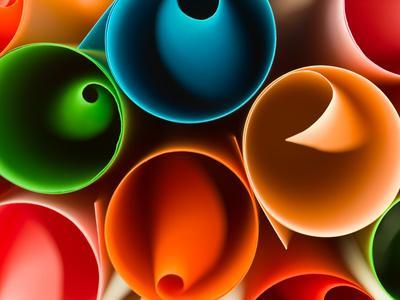 Macro Image of Colorful Rolled Up Paper. Abstract Pattern