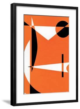 Abstract - Orange with Black and White Patterns