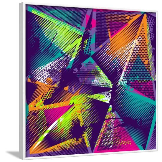 Abstract Seamless Geometric Pattern with Urban Elements, Scuffed, Drops, Sprays, Triangles, Neon Sp-Little Princess-Framed Art Print