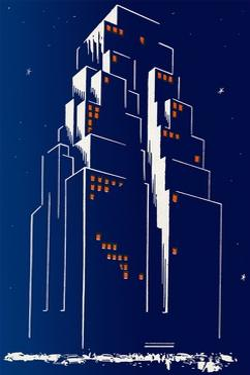 Abstract Skyscraper at Night