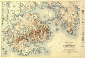 Acadia National Park - Topographic Panoramic Map