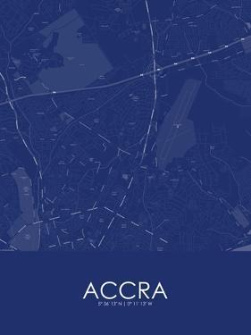 Accra, Ghana Blue Map
