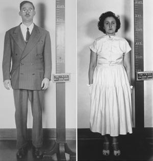 Accused Atomic Spy Julius and Ethel Rosenberg in a Standing Mug Shot, 1951