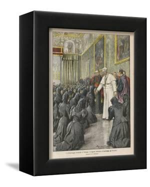 Pope Pius X (Giuseppe Sarto) Pope and Saint Receiving Pilgrims from Lombardy at the Vatican by Achille Beltrame