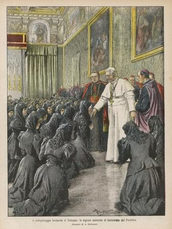 Pope Pius X (Giuseppe Sarto) Pope and Saint Receiving Pilgrims from Lombardy at the Vatican