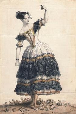 Fanny Elssler as Florinda in the Dance La Cachucha (Ballet Le Diable Boiteu), 1836 by Achille Devéria
