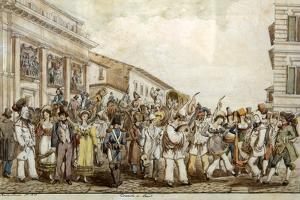 Carnival in Rome, 1830 by Achille Pinelli