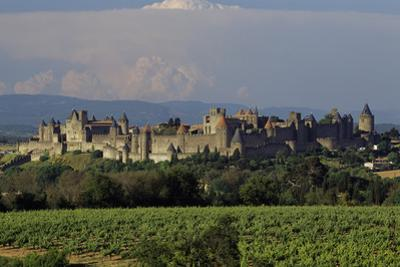 Medieval Hilltop Old Town Fortress in Carcassonne, Department Aude, South of France