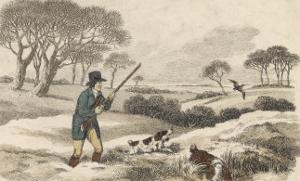 Snipe, a Hunter and His Dogs Go Snipe-Shooting in the Snow- Covered Fields by Ackermann