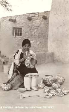 Acoma Pueblo Indian Woman Decorating Pottery