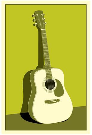 Acoustic Guitar Green Music Poster Print