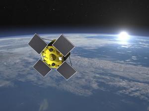 Acrimsat Satellite Orbiting Earth and Rising Sun
