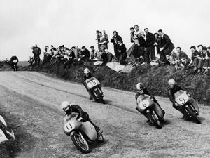 Action from the Lightweight Tt Race, Isle of Man, 1958