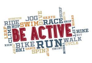 Active Fitness Word Cloud Collage