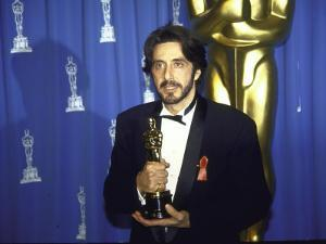 Actor Al Pacino Holding His Oscar in Press Room at Academy Awards
