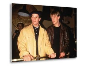 "Actors Mark Wahlberg and Leonardo Dicaprio at Film Premiere for ""The Basketball Diaries"""
