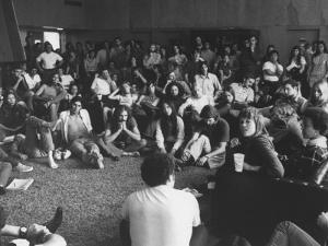 Actress Jane Fonda Discussing Vietnam War W. Whittier College Students