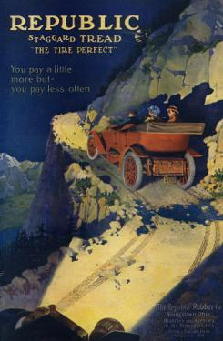 Ad for Republic Automobile Tires, Republic Rubber Co., Youngstown, Ohio, c.1908