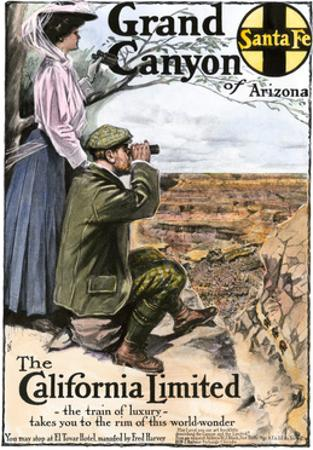 "Ad for Visiting the Grand Canyon Aboard the ""California Limited,"" Santa Fe RR, 1908"