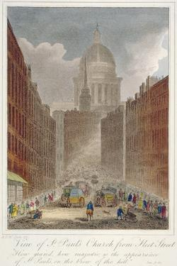 View Along Fleet Street Towards St Paul's Cathedral, City of London, 1805 by AD McQuin