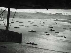 Adak Harbor in the Aleutian Islands with Part of a Huge U.S. Fleet at Anchor