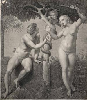 Adam and Eve Tempted Eve Invites Adam to Have a Fig from the Tree