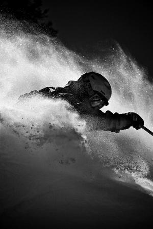 A Male Skier Is Enclosed in Powder at Snowbird, Utah