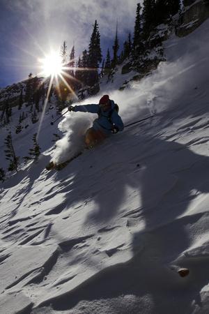 A Male Skier Travels Down the Mountain at Snowbird, Utah