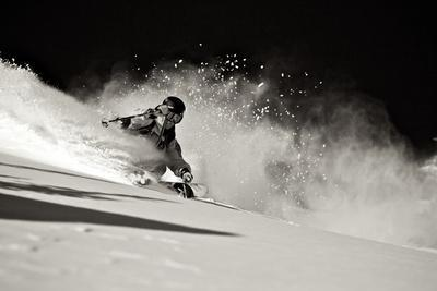 A Male Skier Travels Down the Slopes at Snowbird, Utah