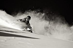 A Male Skier Travels Down the Slopes at Snowbird, Utah by Adam Barker