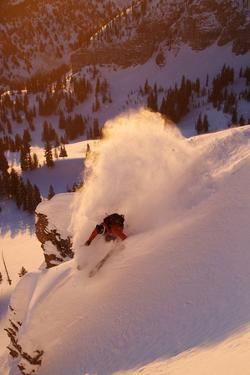 A Talented Skier Skies Down the Mountain at Alta Backcountry, Utah by Adam Barker