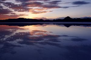 Colorful Sunset on Bonneville Salt Flats, Utah by Adam Barker
