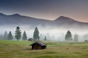 Late Light and Clearing Fog over a Charming Bavarian Farm Village by Adam Barker