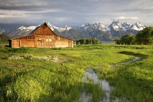 Scenic Landscape Image of the Moulton Barn with Storm Clouds, Grand Teton National Park, Wyoming by Adam Barker